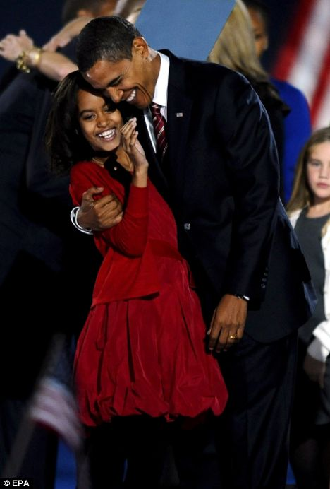 Obama embraces his daughter Malia. The Democrat defeated Republican presidential candidate John McCain to become the 44th President of the United States and the first black president in US history