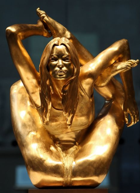 A gold statue of supermodel Kate Moss entitled