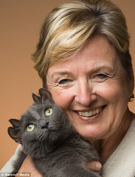 Valerie Rock and Yoda the four-eared cat
