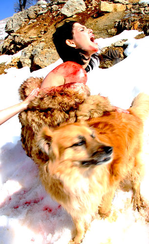 Israeli actress Shira Vilensky poses as she plays the role of an animal having its fur ripped off on the slopes of Mount Hermon in the Golan Heights, Israel. The photograph was taken as part of a campaign to raise awareness on the cruelty and horrors of the fur industry both in Israel and abroad.