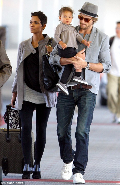 Actress Halle Berry, Gabriel Aubry and their daughter Nahla arrive into Los Angeles International Airport today from New York