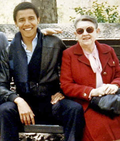 Barack Obama, then a student a Columbia University, and his grandmother, Madelyn Dunham, sit on a park bench in New York City.