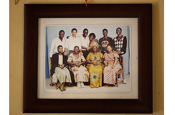 On his father's side, Obama has numerous relatives. He has made several visits to the home of his step grandmother, Sarah Obama, front row, second from right. He also has four half brothers through his father.
