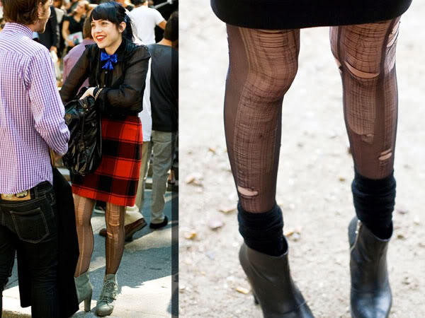 Ripped stocks tights street style