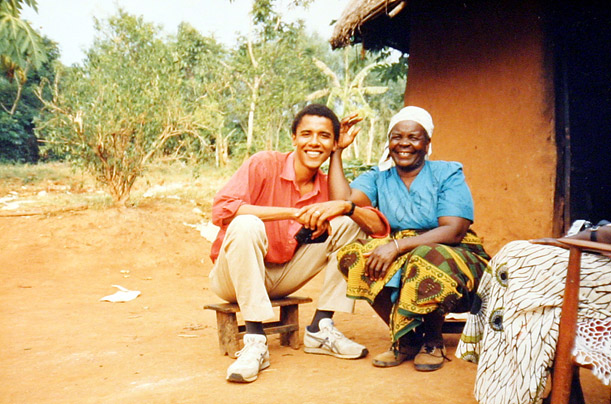 Sarah Obama, now 86, still resides in Kogelo. In this photo, she and Obama pose together outside her home in 1995.