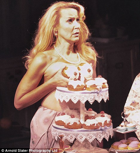 Jerry Hall covers her modesty with cakes in Calendar Girls at the Noel Coward Theatre