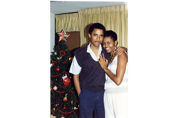 Barack met his wife in the late 1980s, when the two worked at the prestigious Chicago law firm Sidley & Austin. They were married in 1992. Shortly thereafter, they spent a Christmas in Hawaii, where this photo was taken.