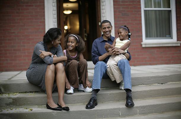 Barack and Michelle have two children, Malia, now 10, and Sasha, 7.